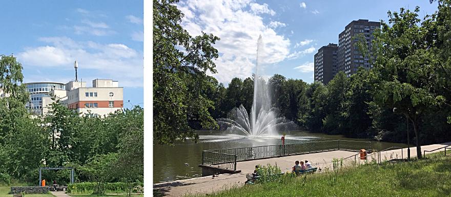 In der Nähe des City Point Centers befindet sich ein schöner Park mit einer Wasseranlage