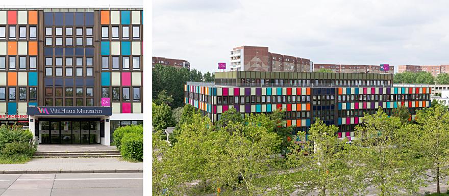 Das VitaHaus Marzahn auf zwei Bildern abgebildet. Links von vorne und rechts von oben. Das VitaHaus ist von außen sehr bunt gestaltet.