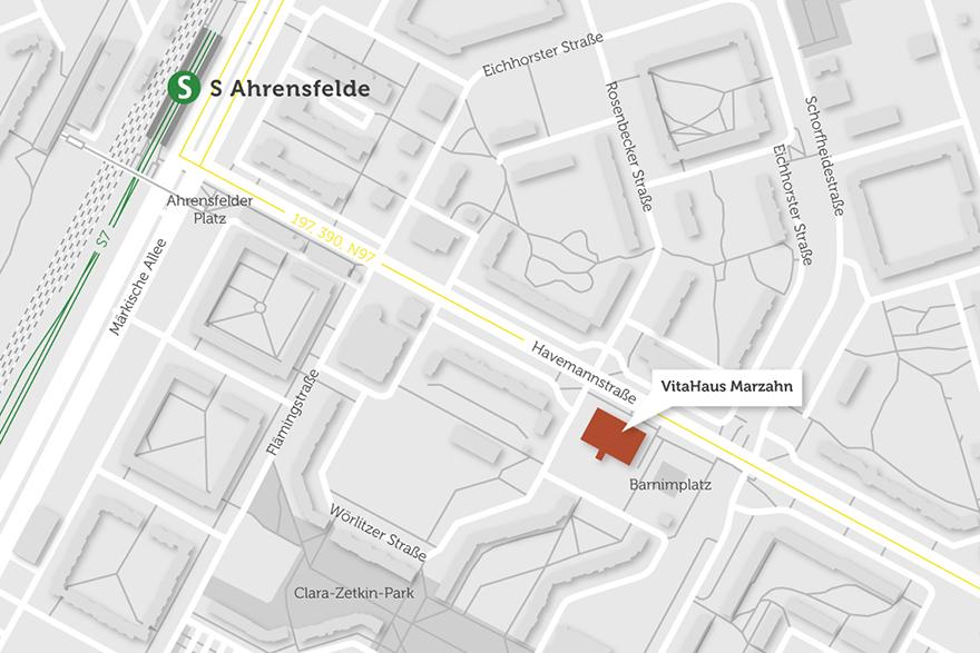 Die Lage des VitaHaus Marzahn auf einer Karte abgebildet. In der Nähe befindet sich der S-Bahnhof Ahrensfelde.