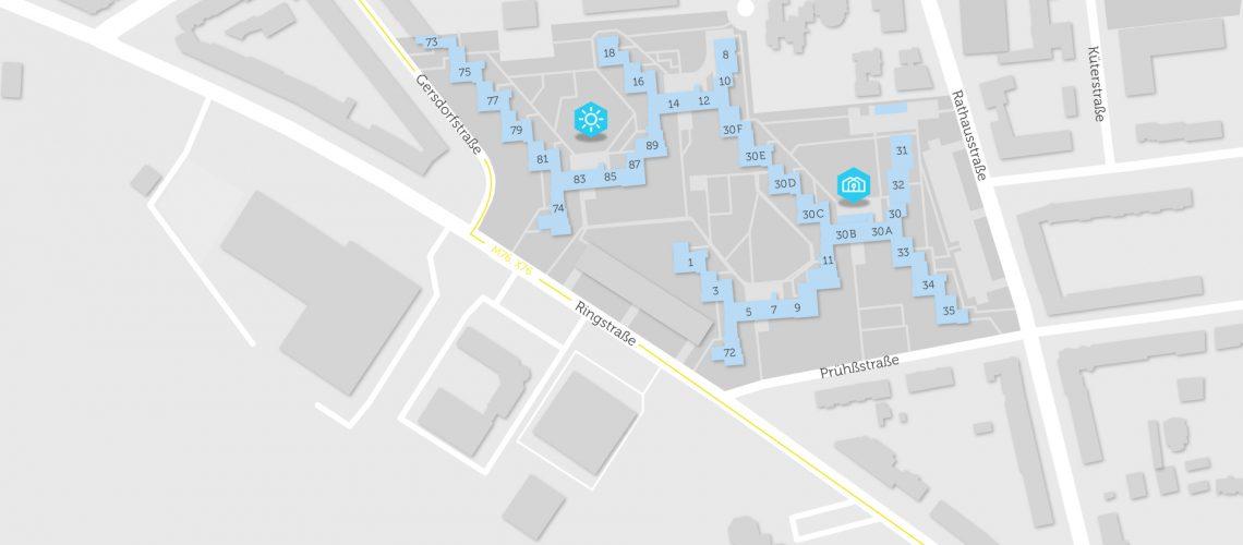 Karte mit Objekten mit Quartier-Stom in Mariendorf