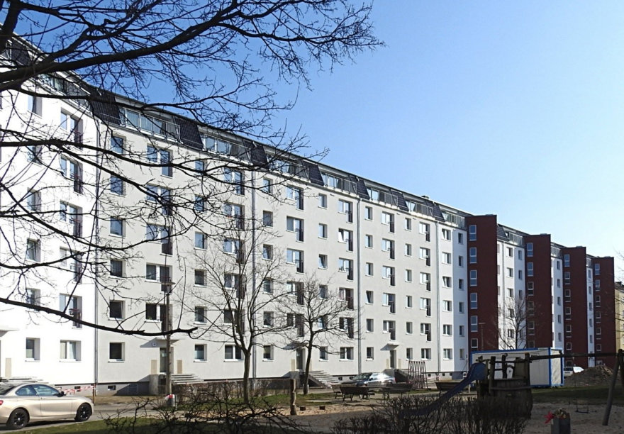 Der Wohnblock in Pankow-Süd nach der Gebäudesanierung