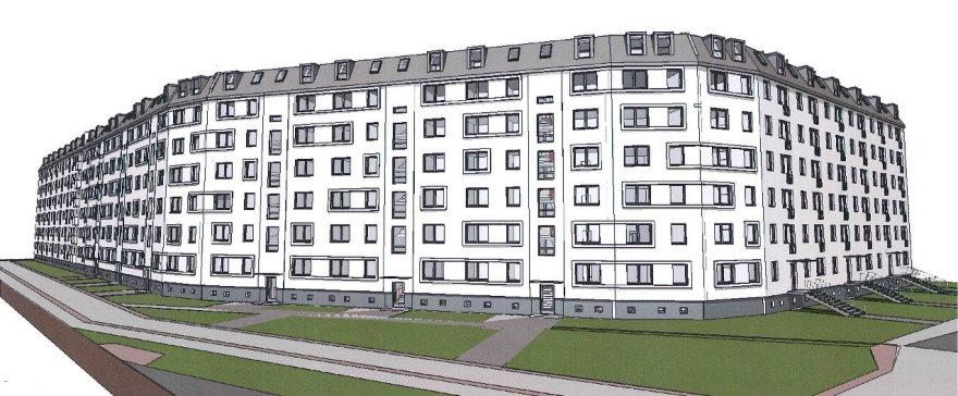 Rendering der Gebäudesanierung in Pankow-Süd aus der Planungspahse