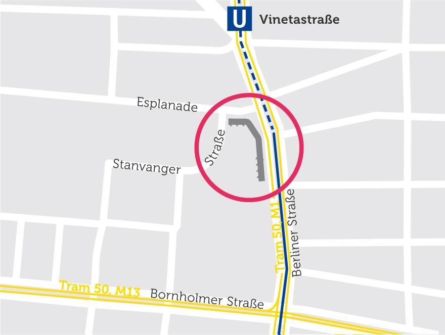 Der Wohnblock auf einer Karte eingezeichnet
