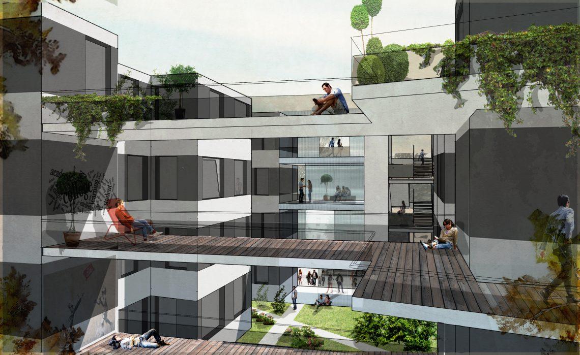 Visualisierung des Projekts Studentisches Wohnen, das beim Deutschen Bauherrenpreis nominiert ist