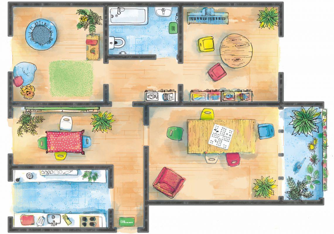 Grundriss einer offenen Familienwohnung