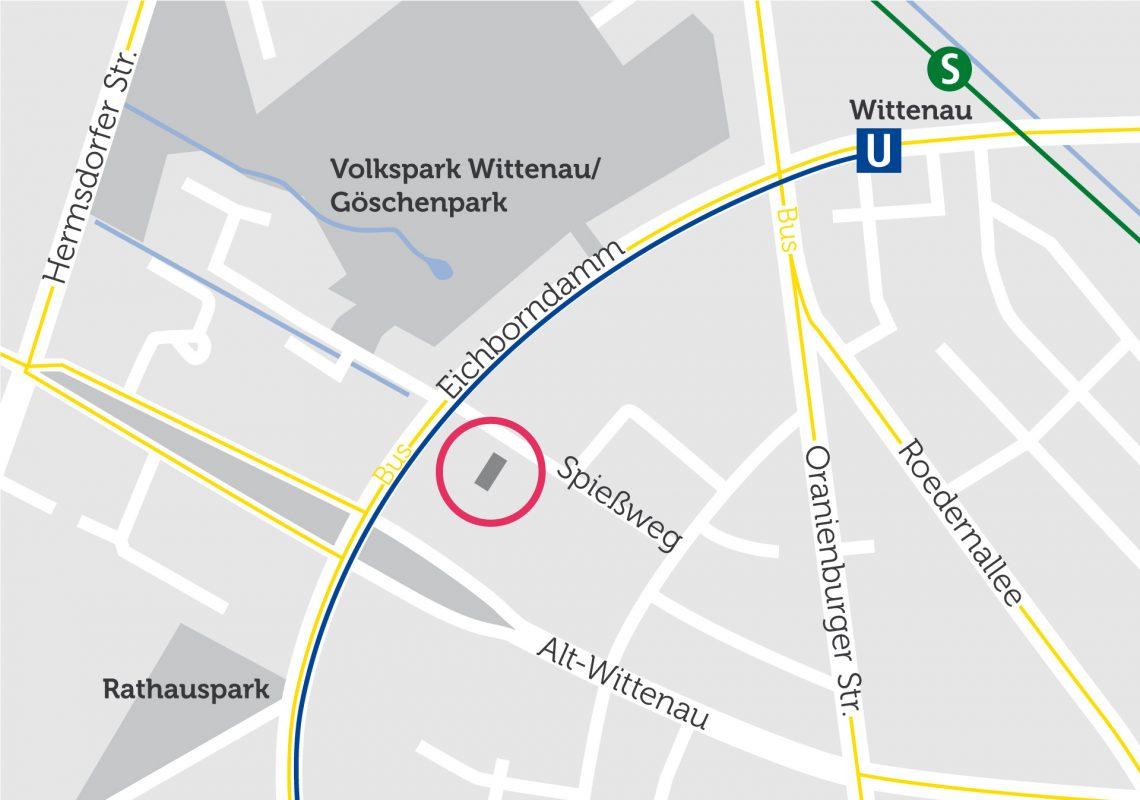 Die Lage des Neubaus im Stadtteil auf einer Karte visualisiert. In der Nähe befindet sich der S-Bahnhof Wittenau.