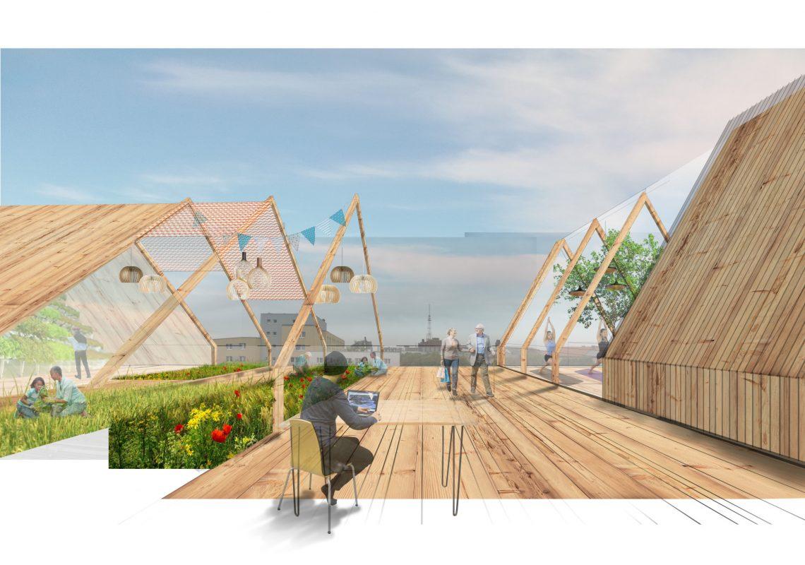 Visueller Entwurf der neuen Dachterrasse von WÜRSCHINGER Architekten GmbH für die Umgestaltung des Hauses in der Bülowstraße 90.