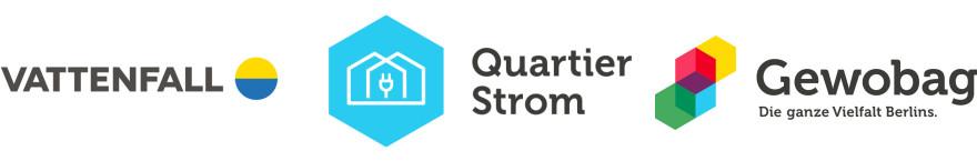 Logos von: Vattenfall, Quartier Strom und Gewobag