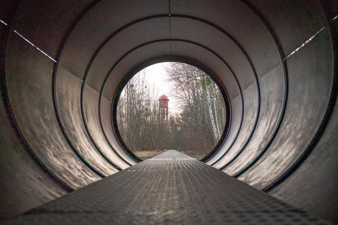 Blick durch eine Metallröhre auf einen Wald.