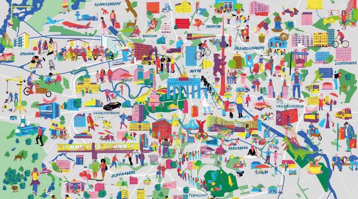 Grafik mit Überblick über Kieze in Berlin