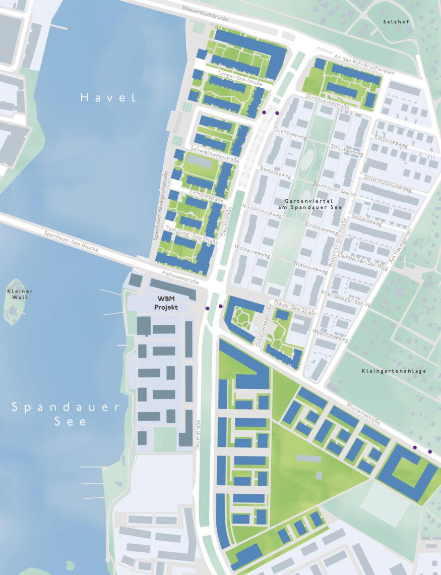 Lage des neuen Stadtteils auf einer Karte visualisiert.