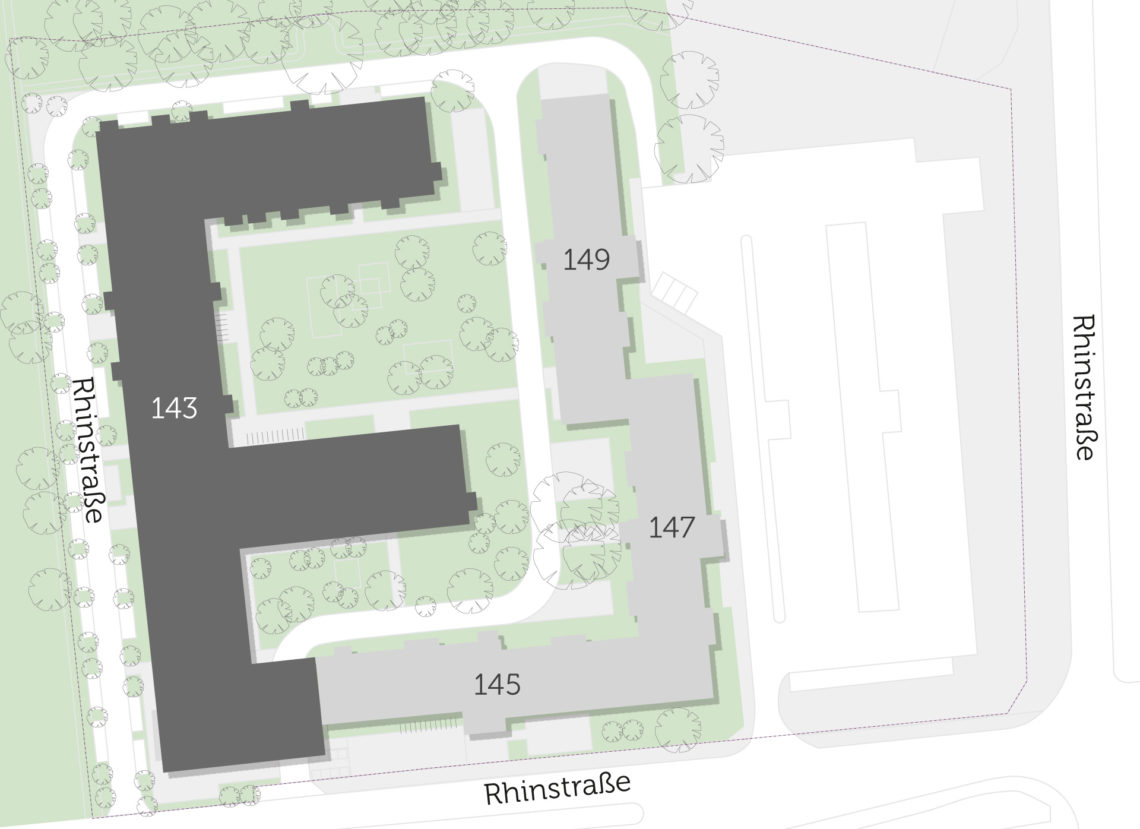 Geländeplan vom Neubau in der Rhinstraße in Berlin Lichtenberg