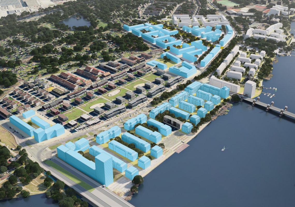 Rendering des nachhaltigen Bauprojektes WATERKANT Berlin der Gewobag an der Havel