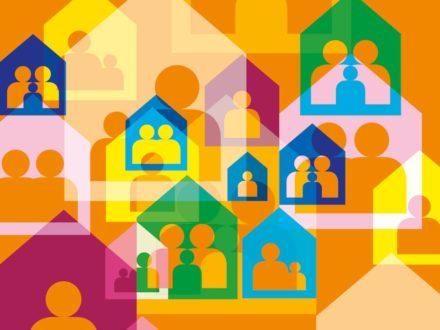 Grafik mit Personen und Häusern