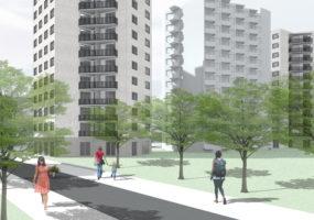Visualisierung des Neubauprojekts der Gewobag in der Meraner Straße/Am Mühlenberg
