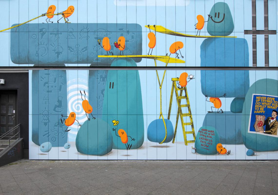 Eine Detailansicht des Murals von Dave the Chimp und anderen Künstlern