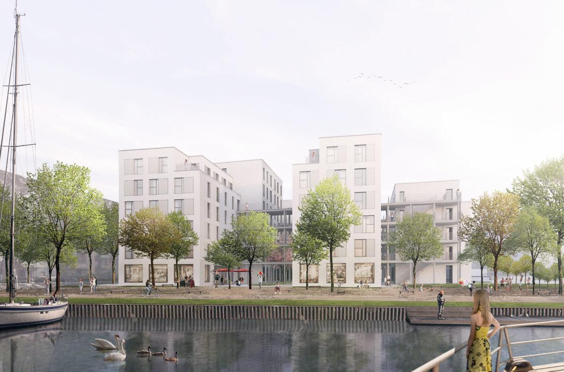 Eine Visualisierung des Neubauprojekts Arcorstraße in Berlin-Charlottenburg direkt am Wasser.