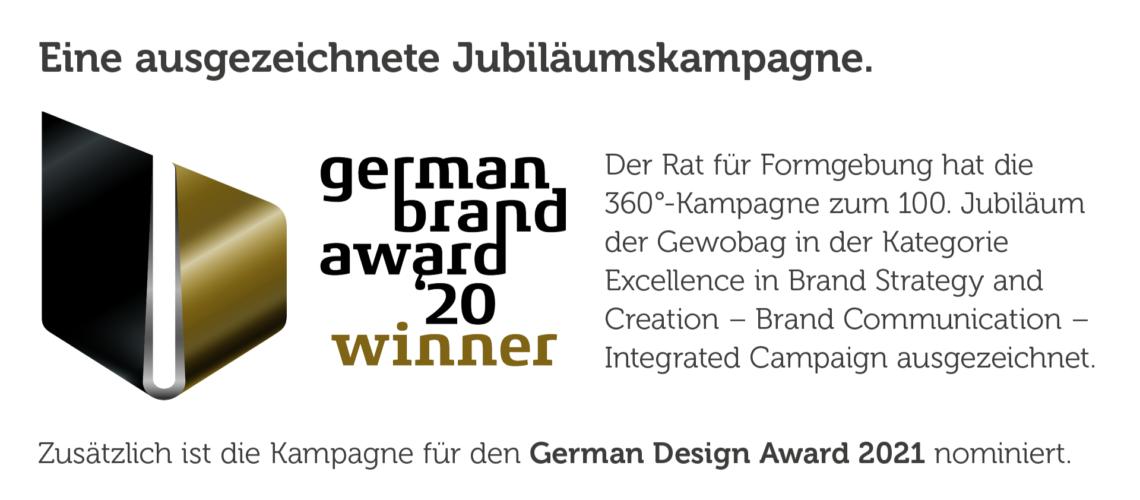 """Die Gewobag ist der """"German Brand Award 2020 Winner"""". Links ist das schwarz-goldene Logo der Veranstalter zu sehen."""