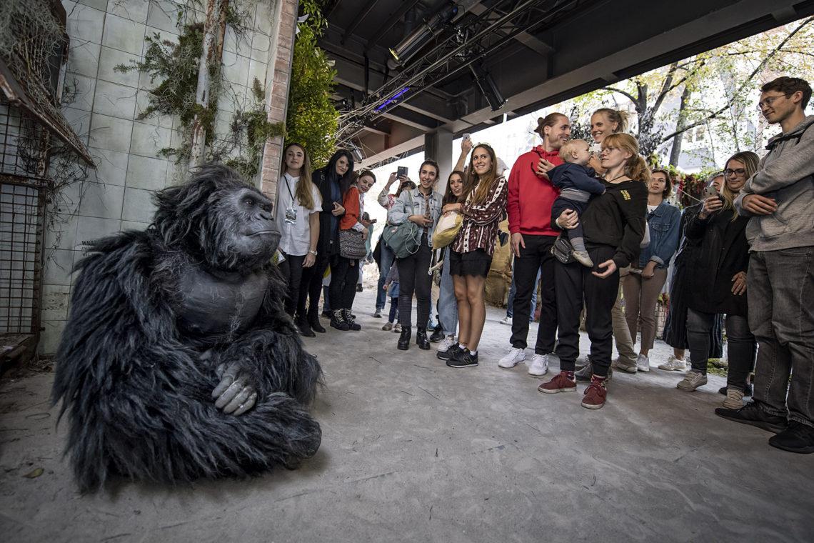 """Gorilla """"Albert"""" von Millenium FX sitzt bei der Urban Nation Biennale"""