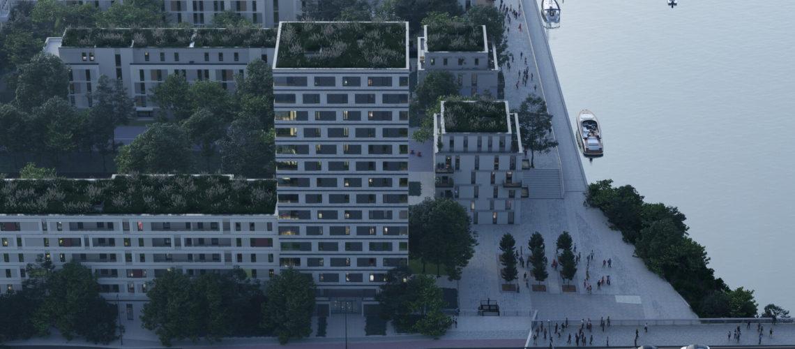 Moderne Gebäude am Ufer eines Flusses