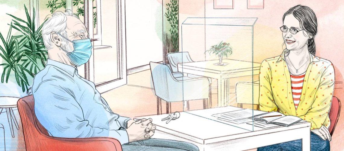 Nicole Sandt spricht mit einem Bewohner von Wohn!Aktiv.