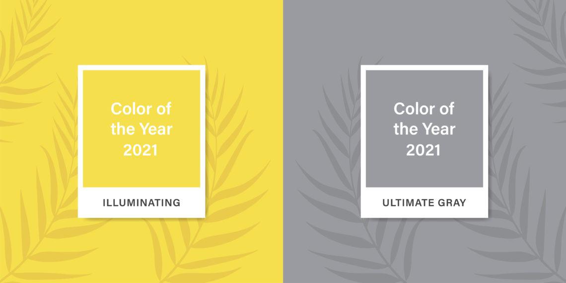 Die zwei Trendfarben 2021. Ein gelb und ein grau.