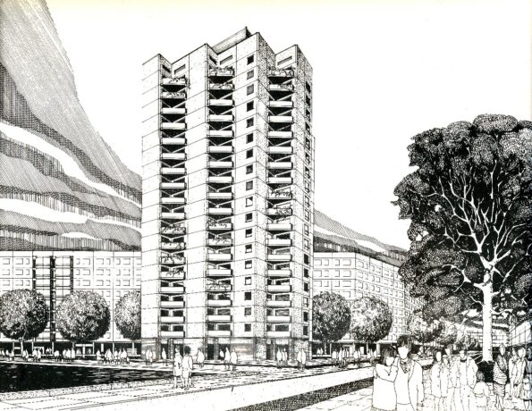 Ein gezeichnetes Hochhaus
