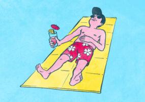 Illustrationen zum Thema Abkühlen in der Sommerhitze: Ein Mann liegt auf einer Matte