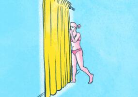 Illustrationen zum Thema Abkühlen in der Sommerhitze: Eine Frau schaut durch einen Vorhang am Fenster