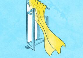 Illustrationen zum Thema Abkühlen in der Sommerhitze: Ein geöffnetes Fenster