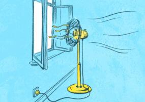 Illustrationen zum Thema Abkühlen in der Sommerhitze: Ein Ventilator vor einem Fenster
