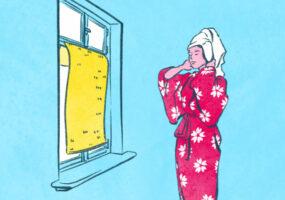 Illustrationen zum Thema Abkühlen in der Sommerhitze: Frau steht vor einem Fenster