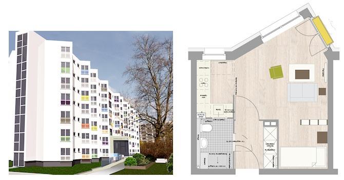 3D-Illustration der Hausfassade Zobeltitzstraße 117 sowie Standardgrundriss mit Möblierungsvorschlag