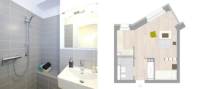 Zwei Bilder sind zusehen. Links ein graues Badezimmer und rechts ein Exposé einer Wohnung.