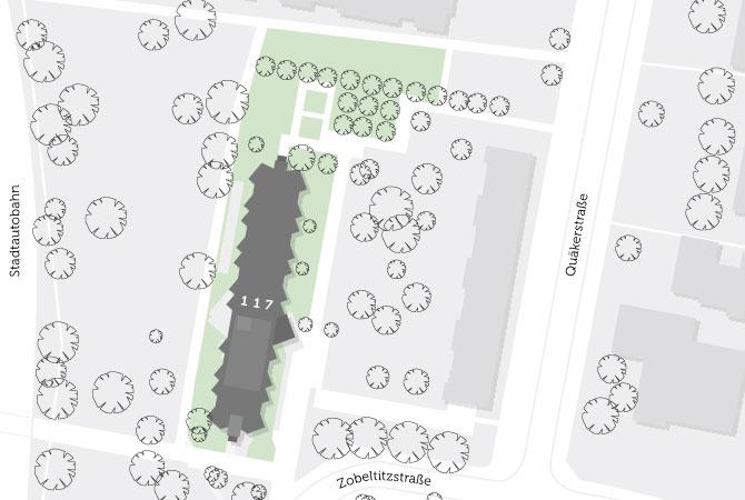 Lage der Wohnungen auf einer Karte. In der Nähe befindet sich eine Stadtautobahn.