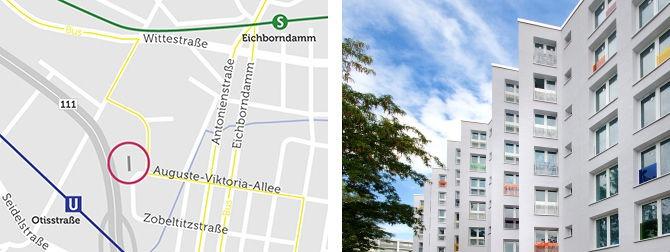 Zwei Bilder. Links ist die Lage der Wohnungen im Stadtteil auf einer Karte zu sehen. In der Nähe befindet sich der S-Bahnhof Eichborndamm. Rechts sind die Wohnungen zusehen.